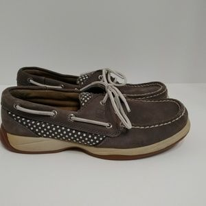 Sperry top sider gray leather canvas boat shoes